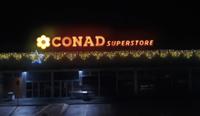 installazione luminarie natalizie Conad Superstore - Perugia